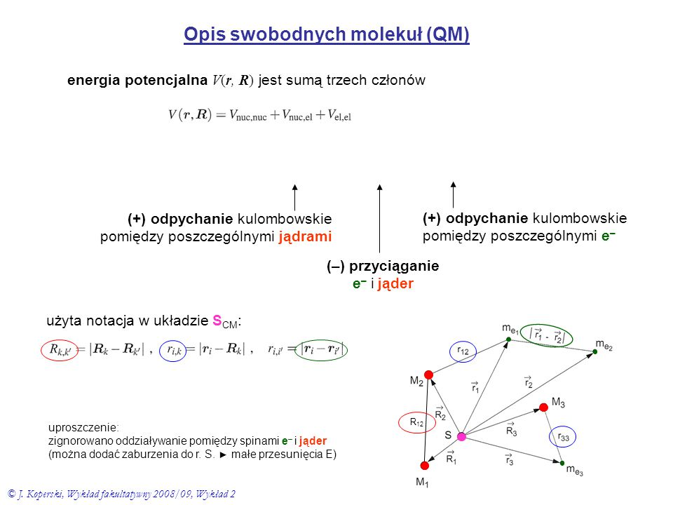 Opis swobodnych molekuł (QM)