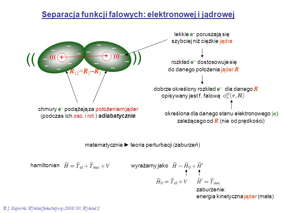 Separacja funkcji falowych: elektronowej i jądrowej