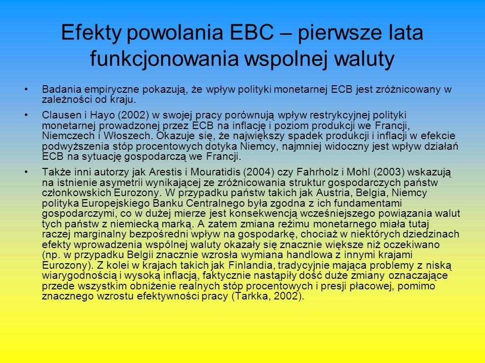 Efekty powolania EBC – pierwsze lata funkcjonowania wspolnej waluty