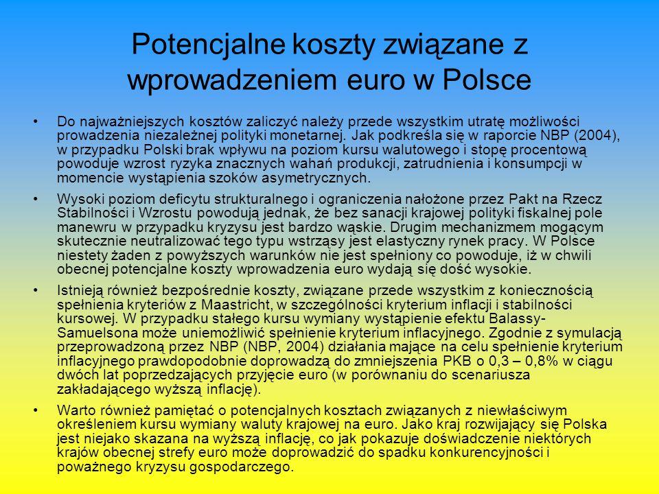 Potencjalne koszty związane z wprowadzeniem euro w Polsce