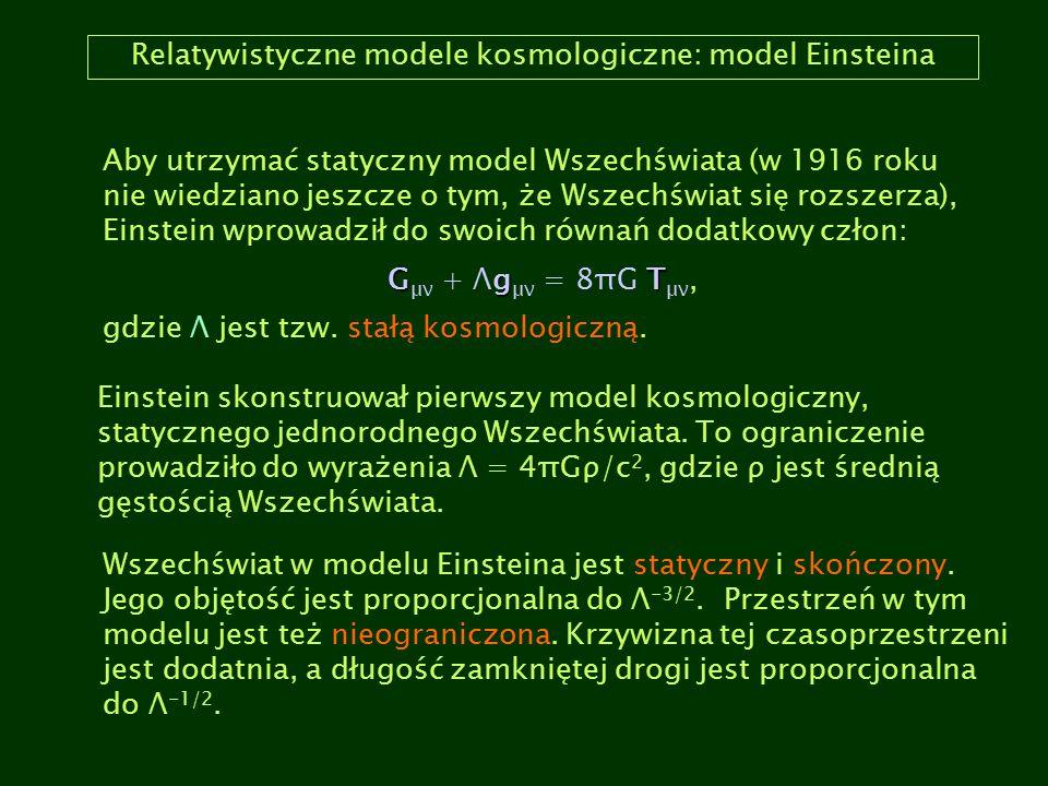 Relatywistyczne modele kosmologiczne: model Einsteina