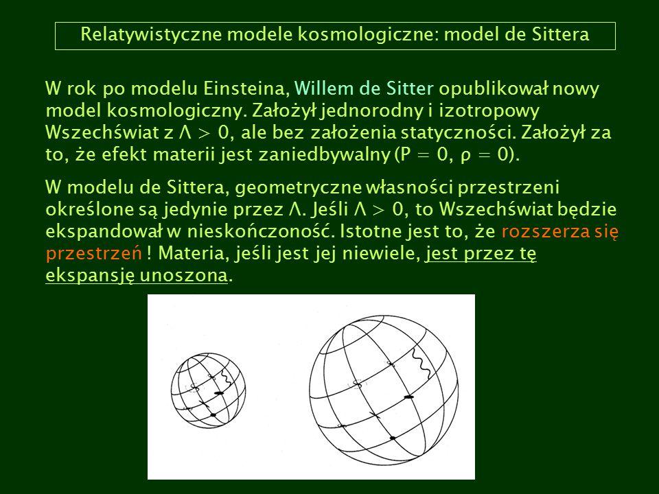 Relatywistyczne modele kosmologiczne: model de Sittera
