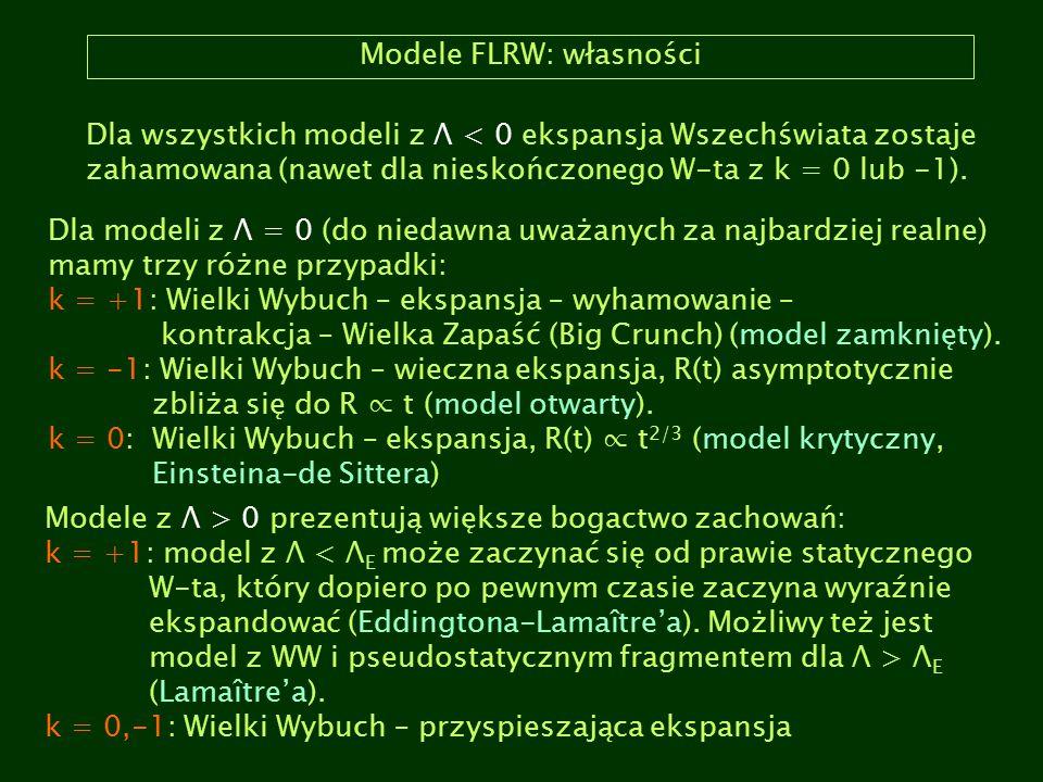 Modele FLRW: własności