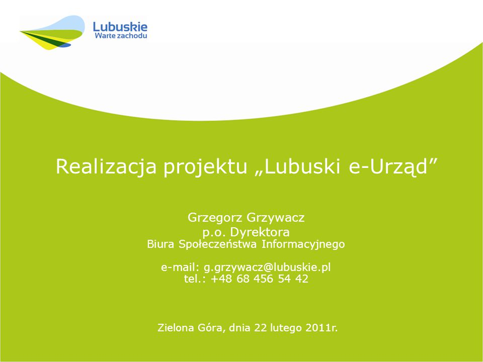 """Realizacja projektu """"Lubuski e-Urząd"""