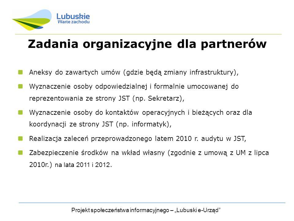 Zadania organizacyjne dla partnerów