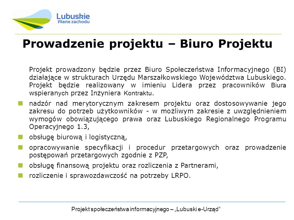 Prowadzenie projektu – Biuro Projektu