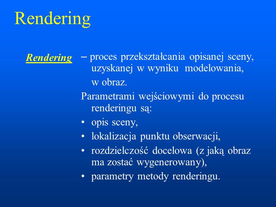 Rendering Rendering. – proces przekształcania opisanej sceny, uzyskanej w wyniku modelowania, w obraz.