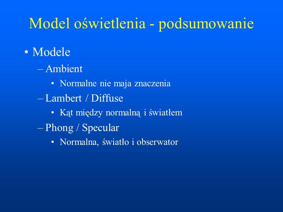 Model oświetlenia - podsumowanie