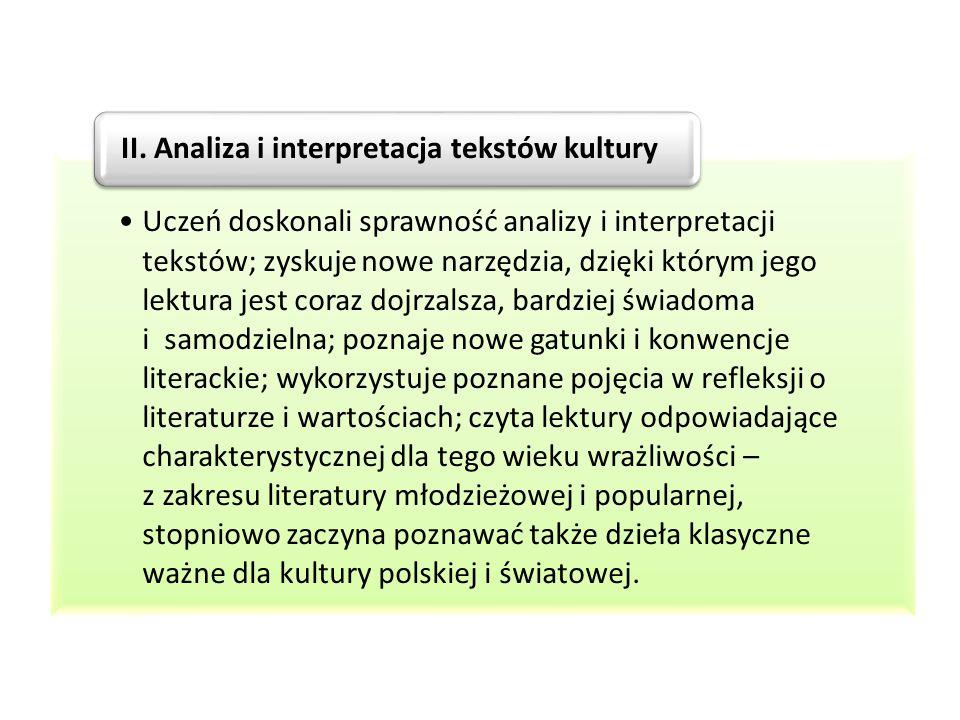 II. Analiza i interpretacja tekstów kultury