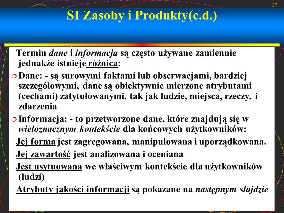 SI Zasoby i Produkty(c.d.)