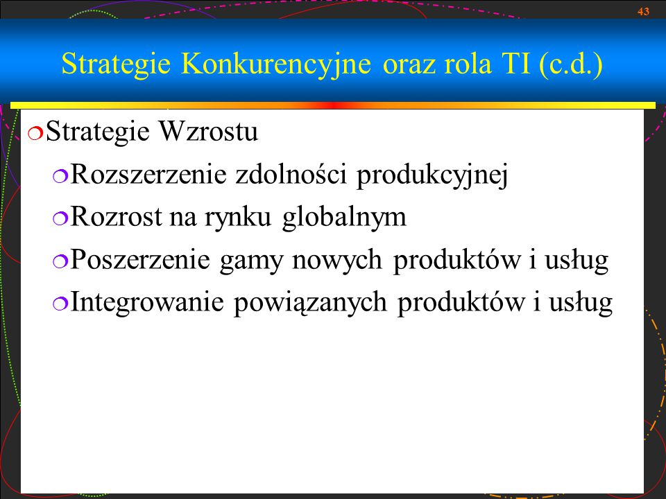 Strategie Konkurencyjne oraz rola TI (c.d.)
