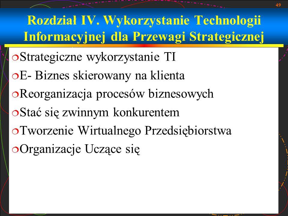 Rozdział IV. Wykorzystanie Technologii Informacyjnej dla Przewagi Strategicznej