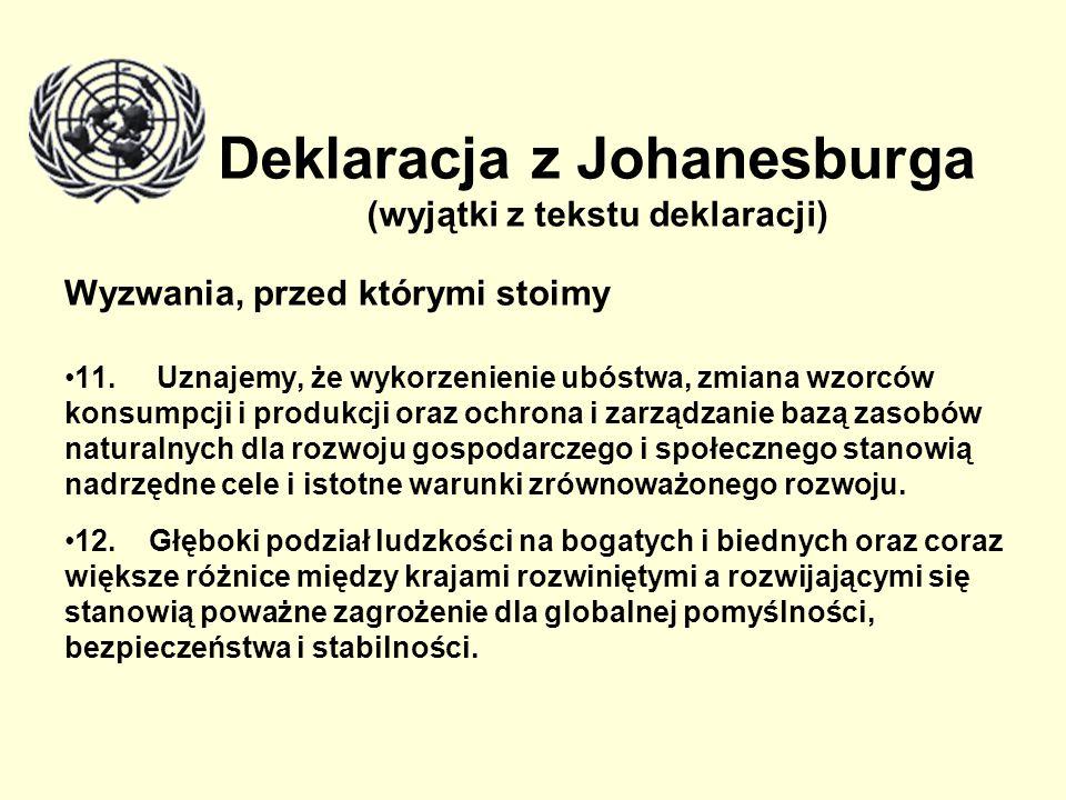 Deklaracja z Johanesburga (wyjątki z tekstu deklaracji)
