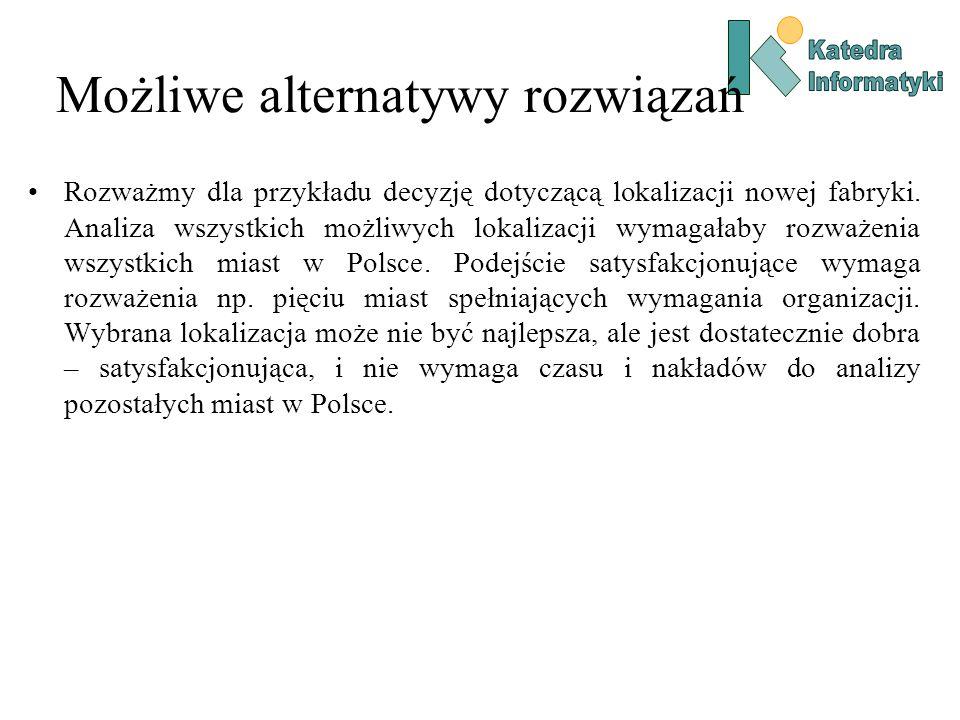 Możliwe alternatywy rozwiązań