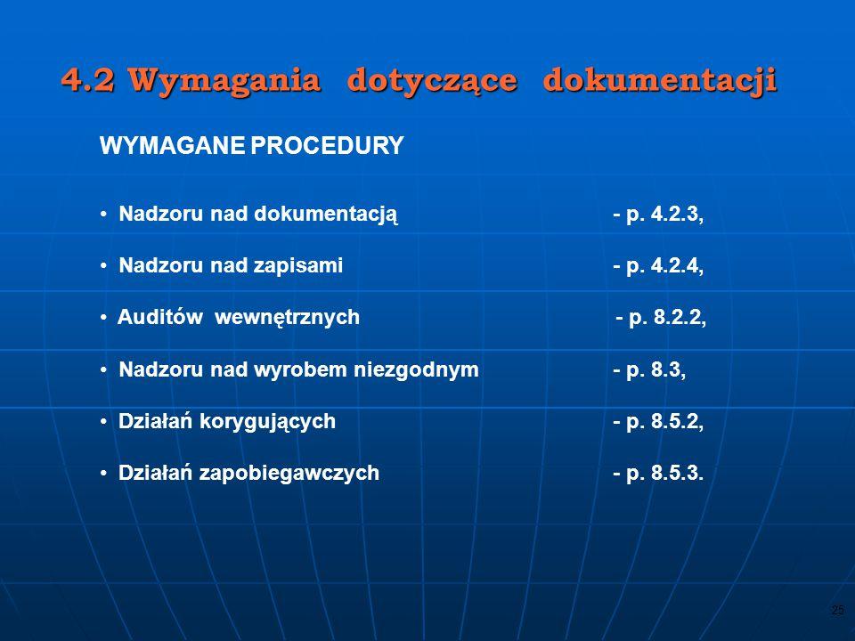 4.2 Wymagania dotyczące dokumentacji