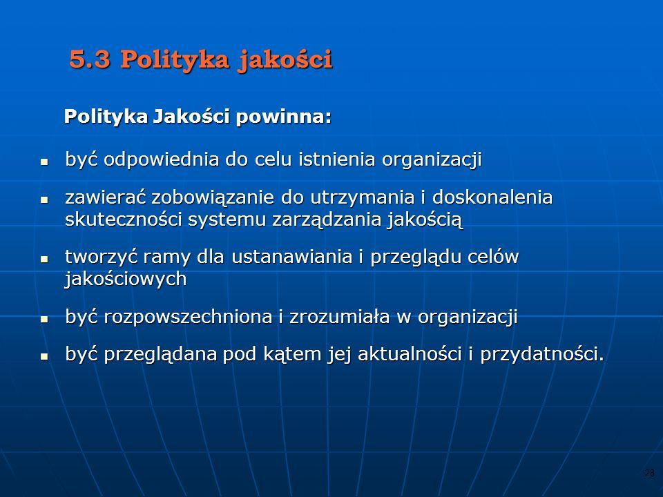 5.3 Polityka jakości Polityka Jakości powinna: