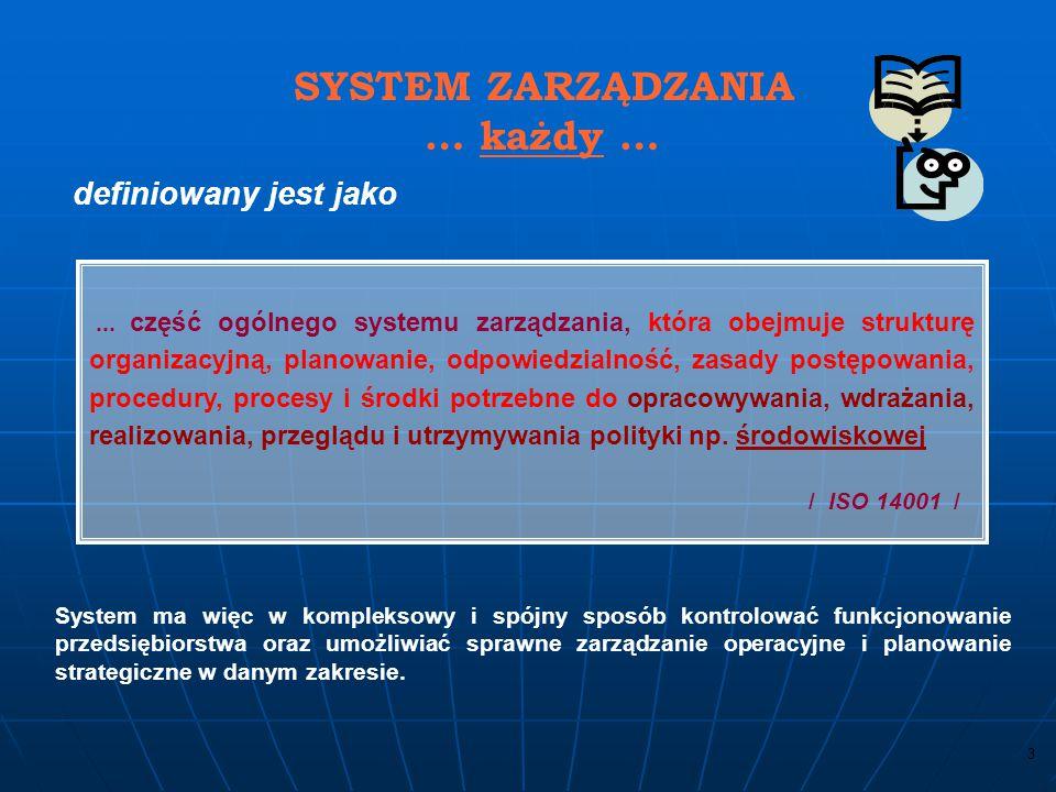 … każdy … definiowany jest jako SYSTEM ZARZĄDZANIA