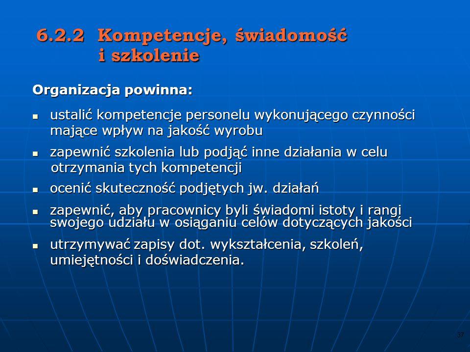 6.2.2 Kompetencje, świadomość i szkolenie
