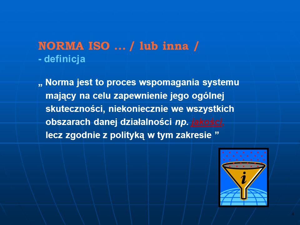 NORMA ISO ... / lub inna / - definicja