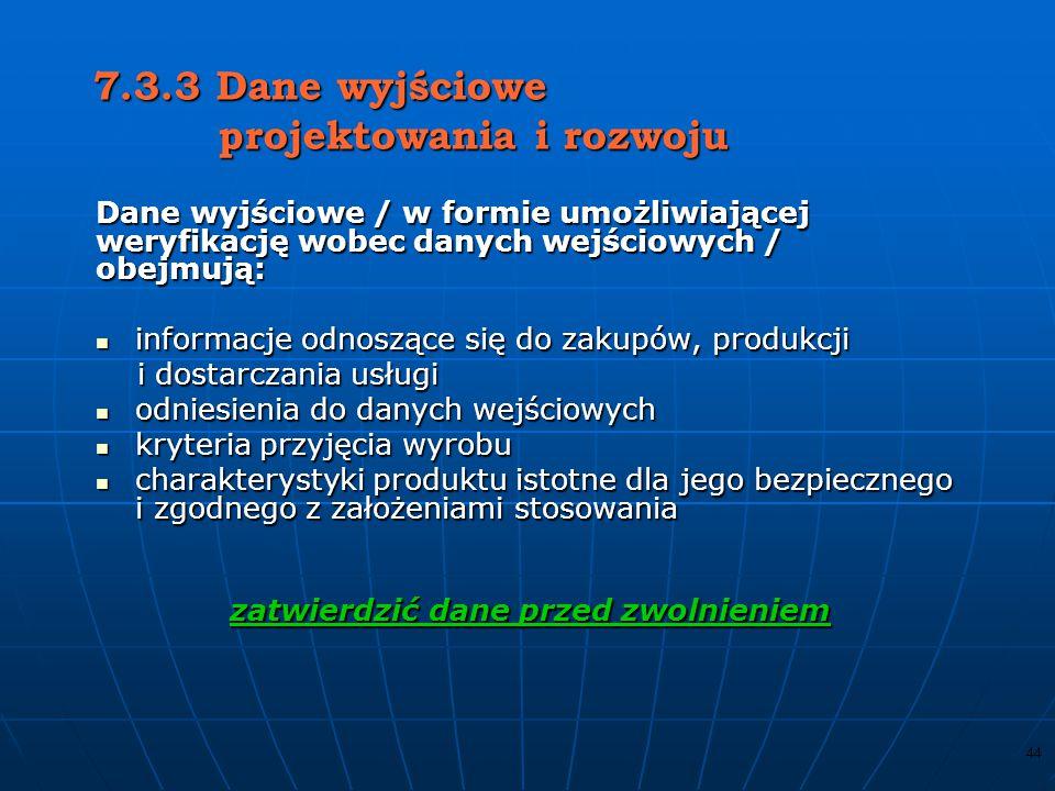7.3.3 Dane wyjściowe projektowania i rozwoju