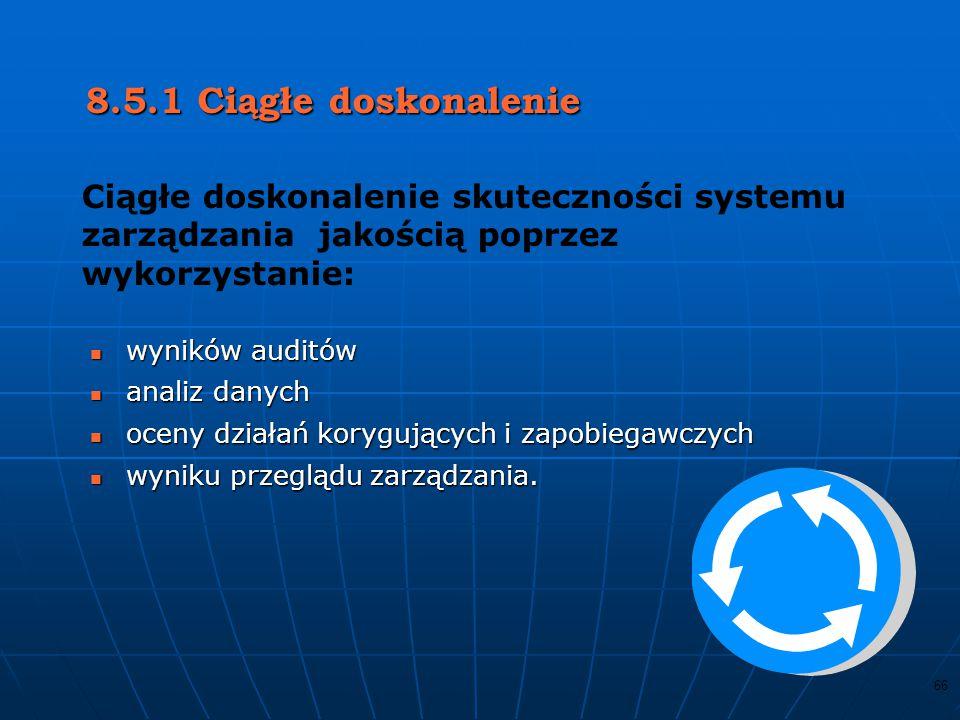 8.5.1 Ciągłe doskonalenie Ciągłe doskonalenie skuteczności systemu zarządzania jakością poprzez wykorzystanie: