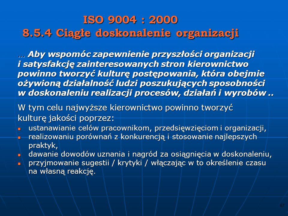 ISO 9004 : 2000 8.5.4 Ciągłe doskonalenie organizacji