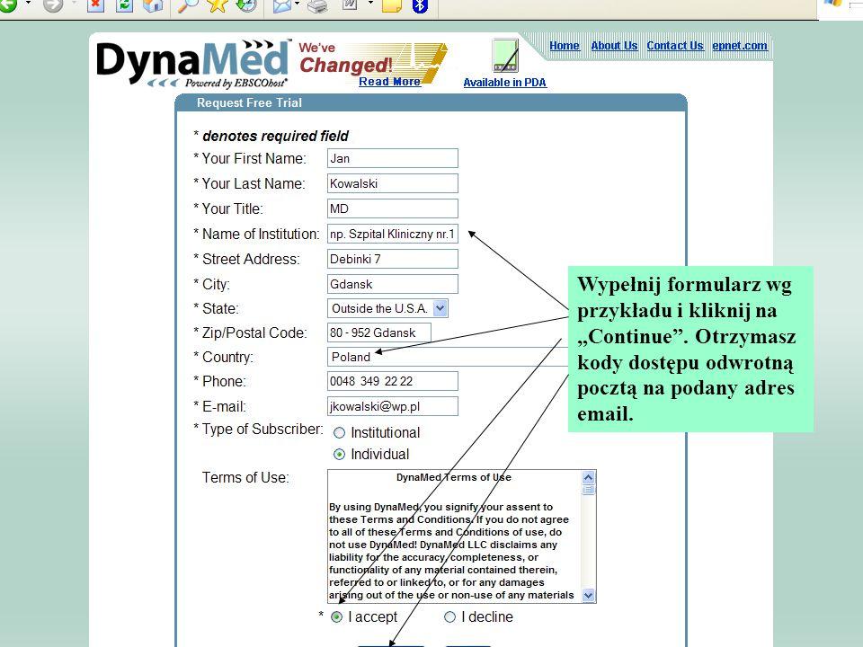 """Wypełnij formularz wg przykładu i kliknij na """"Continue"""