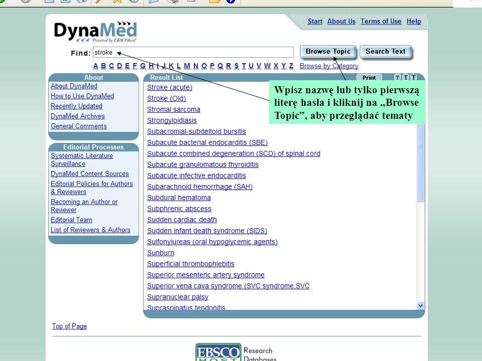 """Wpisz nazwę lub tylko pierwszą literę hasła i kliknij na """"Browse Topic , aby przeglądać tematy"""