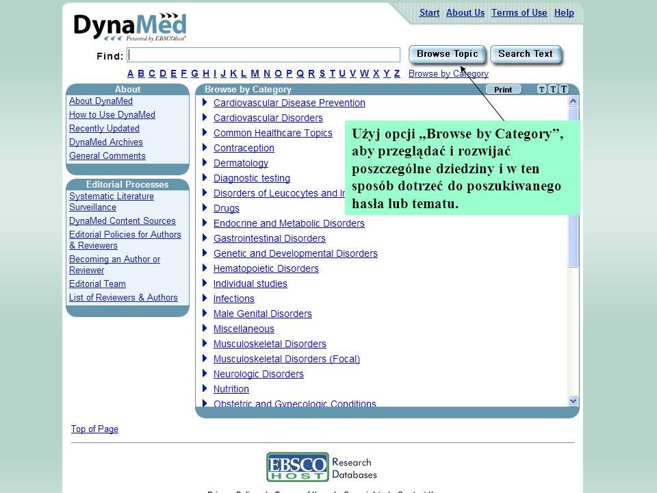 """Użyj opcji """"Browse by Category , aby przeglądać i rozwijać poszczególne dziedziny i w ten sposób dotrzeć do poszukiwanego hasła lub tematu."""