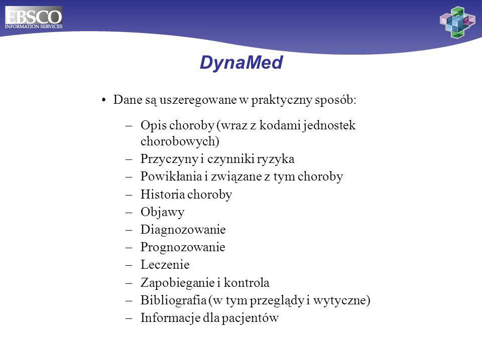 DynaMed Dane są uszeregowane w praktyczny sposób:
