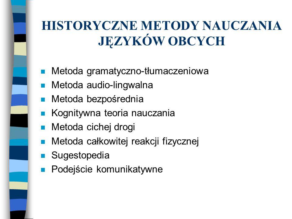 HISTORYCZNE METODY NAUCZANIA JĘZYKÓW OBCYCH