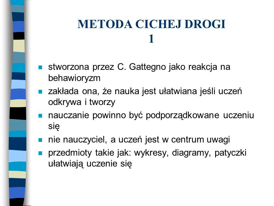 METODA CICHEJ DROGI 1 stworzona przez C. Gattegno jako reakcja na behawioryzm. zakłada ona, że nauka jest ułatwiana jeśli uczeń odkrywa i tworzy.