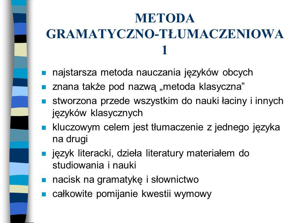 METODA GRAMATYCZNO-TŁUMACZENIOWA 1