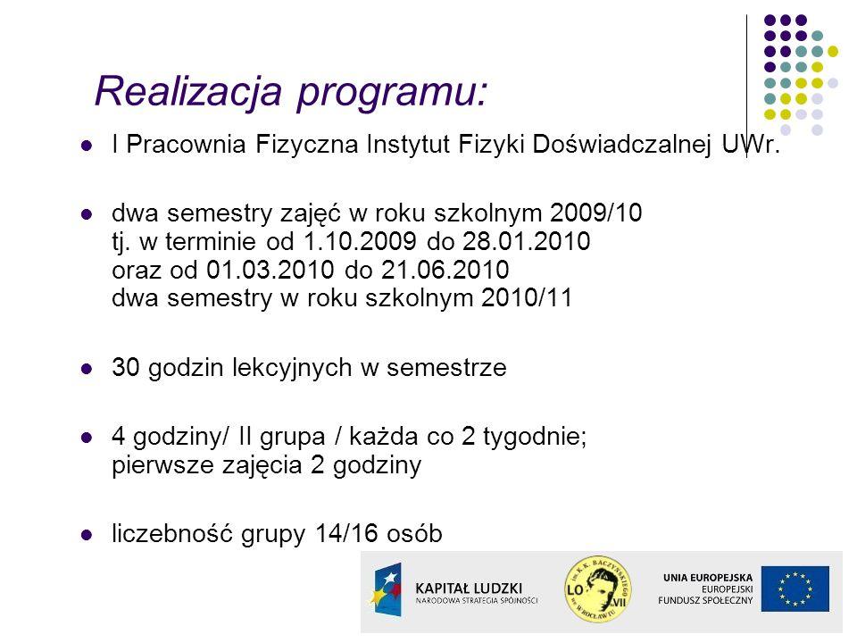 Realizacja programu: I Pracownia Fizyczna Instytut Fizyki Doświadczalnej UWr.
