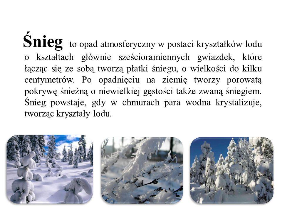 Śnieg to opad atmosferyczny w postaci kryształków lodu o kształtach głównie sześcioramiennych gwiazdek, które łącząc się ze sobą tworzą płatki śniegu, o wielkości do kilku centymetrów.