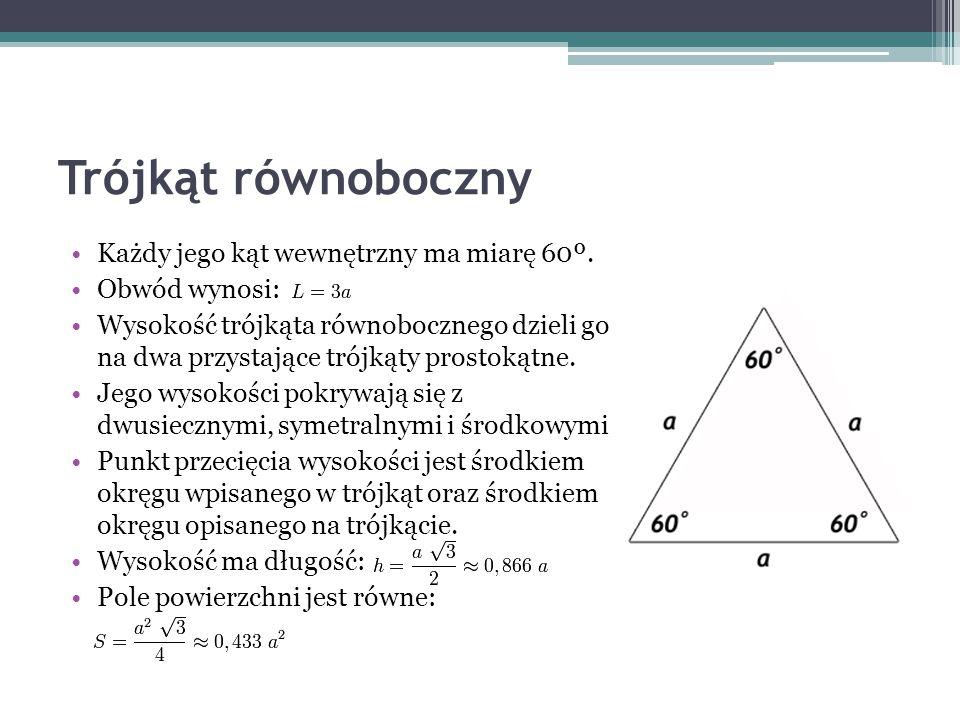 Trójkąt równoboczny Każdy jego kąt wewnętrzny ma miarę 60º.