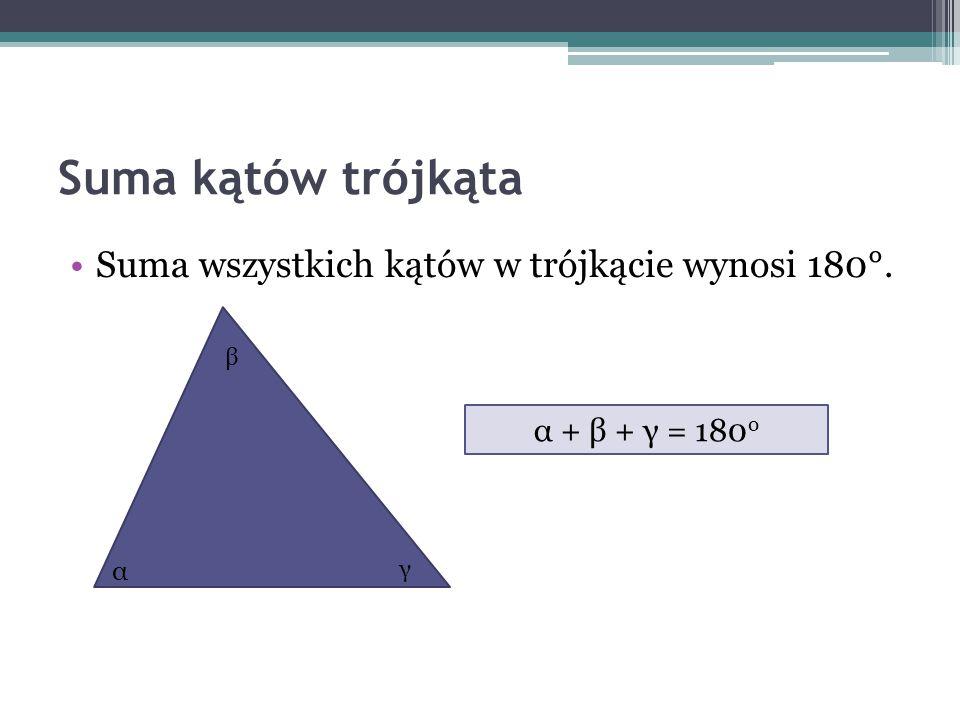 Suma kątów trójkąta Suma wszystkich kątów w trójkącie wynosi 180°.