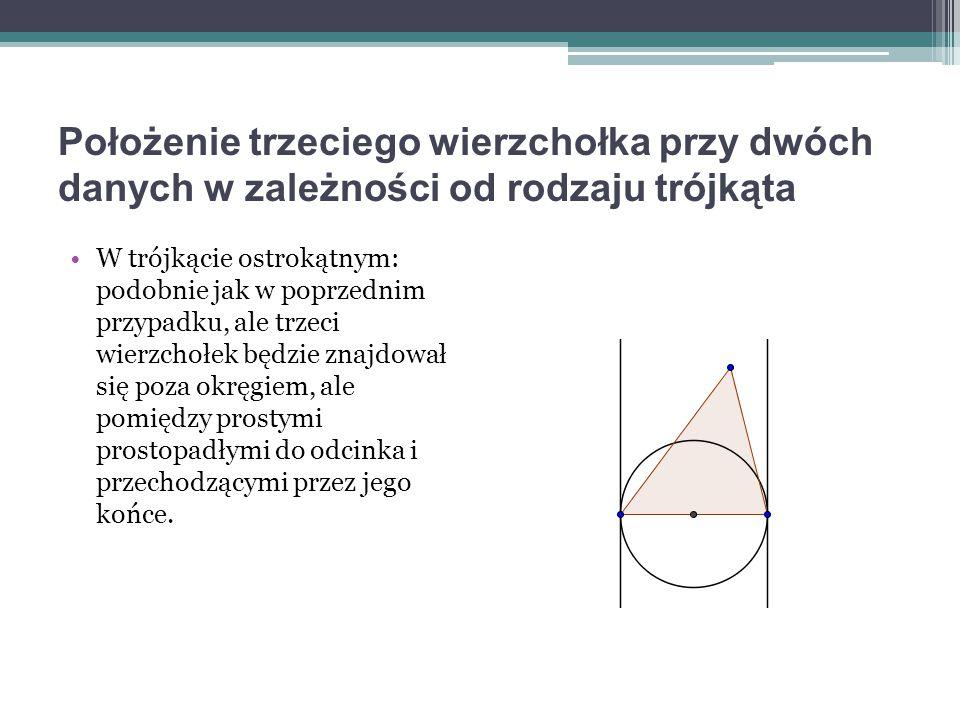 Położenie trzeciego wierzchołka przy dwóch danych w zależności od rodzaju trójkąta