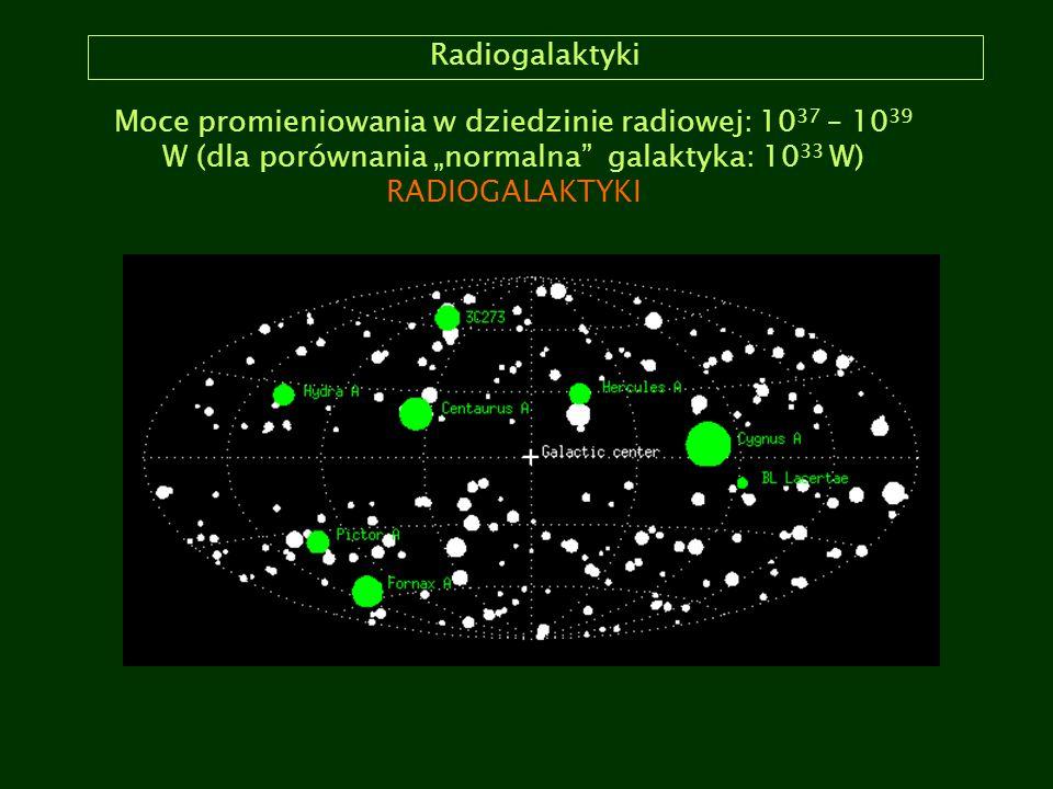 """Radiogalaktyki Moce promieniowania w dziedzinie radiowej: 1037 – 1039 W (dla porównania """"normalna galaktyka: 1033 W)"""
