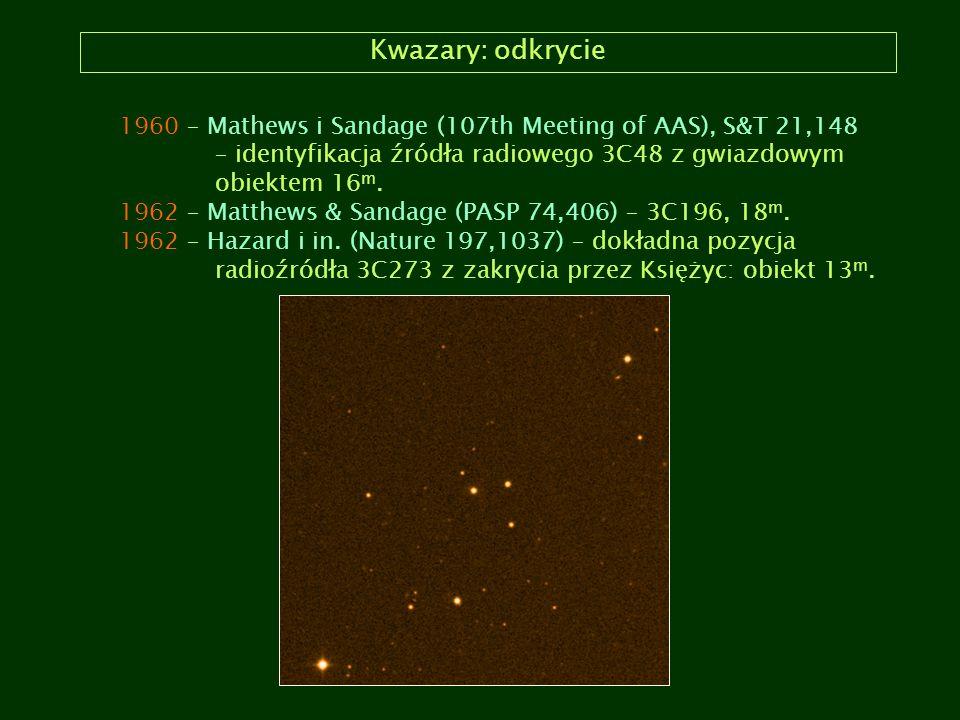 Kwazary: odkrycie 1960 – Mathews i Sandage (107th Meeting of AAS), S&T 21,148. – identyfikacja źródła radiowego 3C48 z gwiazdowym.