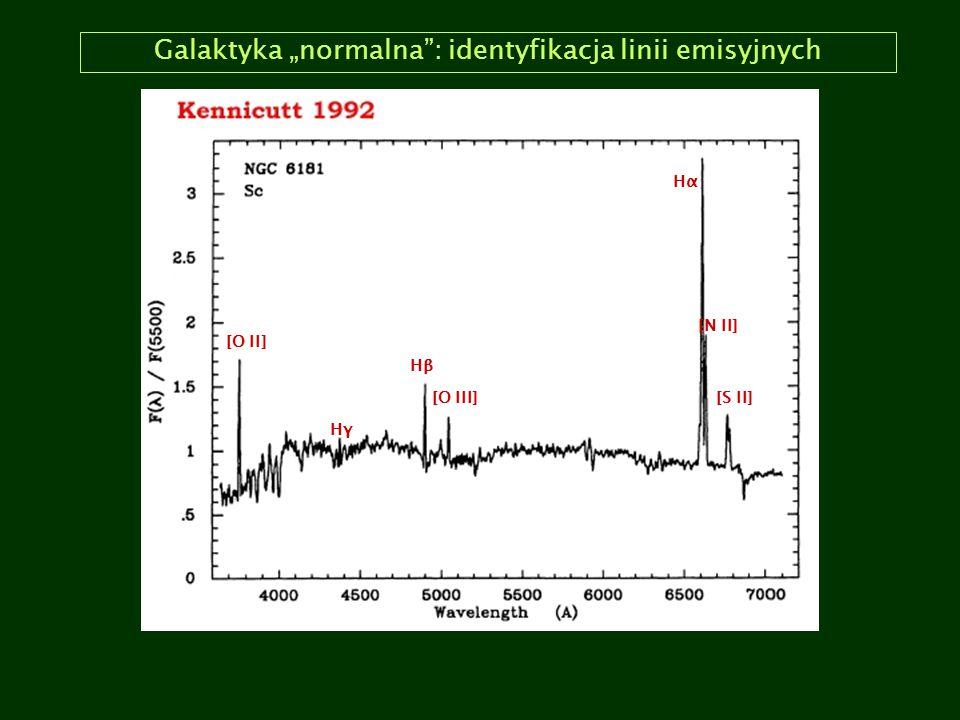 """Galaktyka """"normalna : identyfikacja linii emisyjnych"""