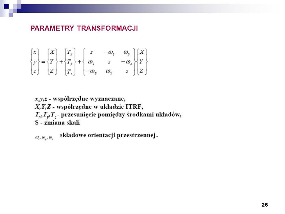 PARAMETRY TRANSFORMACJI