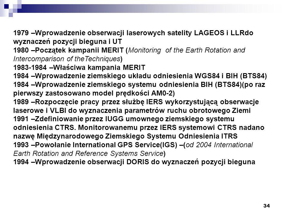 1979 –Wprowadzenie obserwacji laserowych satelity LAGEOS i LLRdo wyznaczeń pozycji bieguna i UT