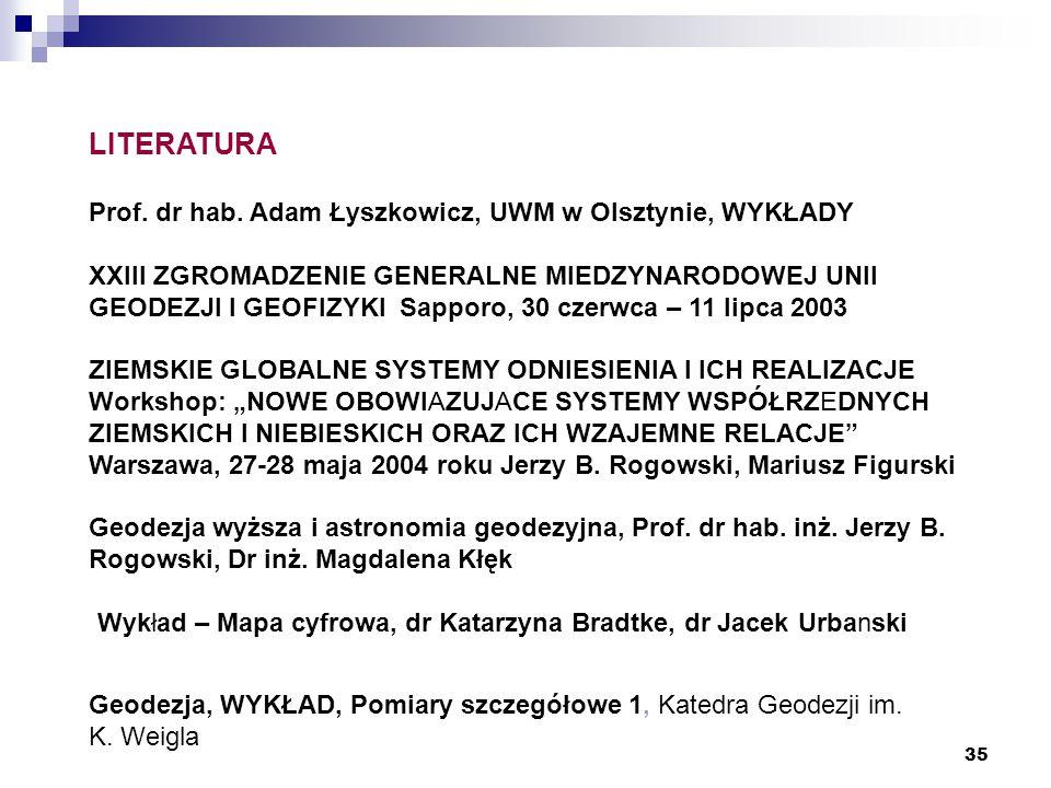 LITERATURA Prof. dr hab. Adam Łyszkowicz, UWM w Olsztynie, WYKŁADY