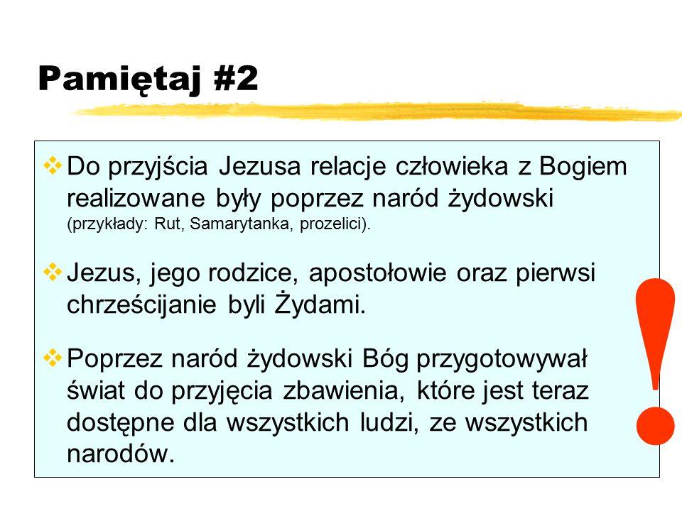 Pamiętaj #2 Do przyjścia Jezusa relacje człowieka z Bogiem realizowane były poprzez naród żydowski (przykłady: Rut, Samarytanka, prozelici).