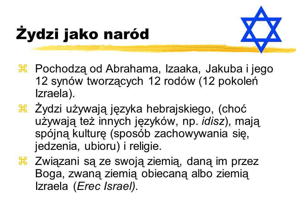 Żydzi jako naród Pochodzą od Abrahama, Izaaka, Jakuba i jego 12 synów tworzących 12 rodów (12 pokoleń Izraela).