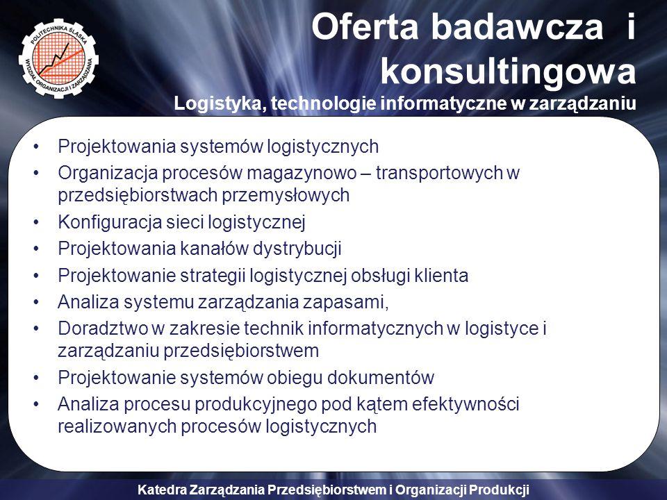 Oferta badawcza i konsultingowa Logistyka, technologie informatyczne w zarządzaniu