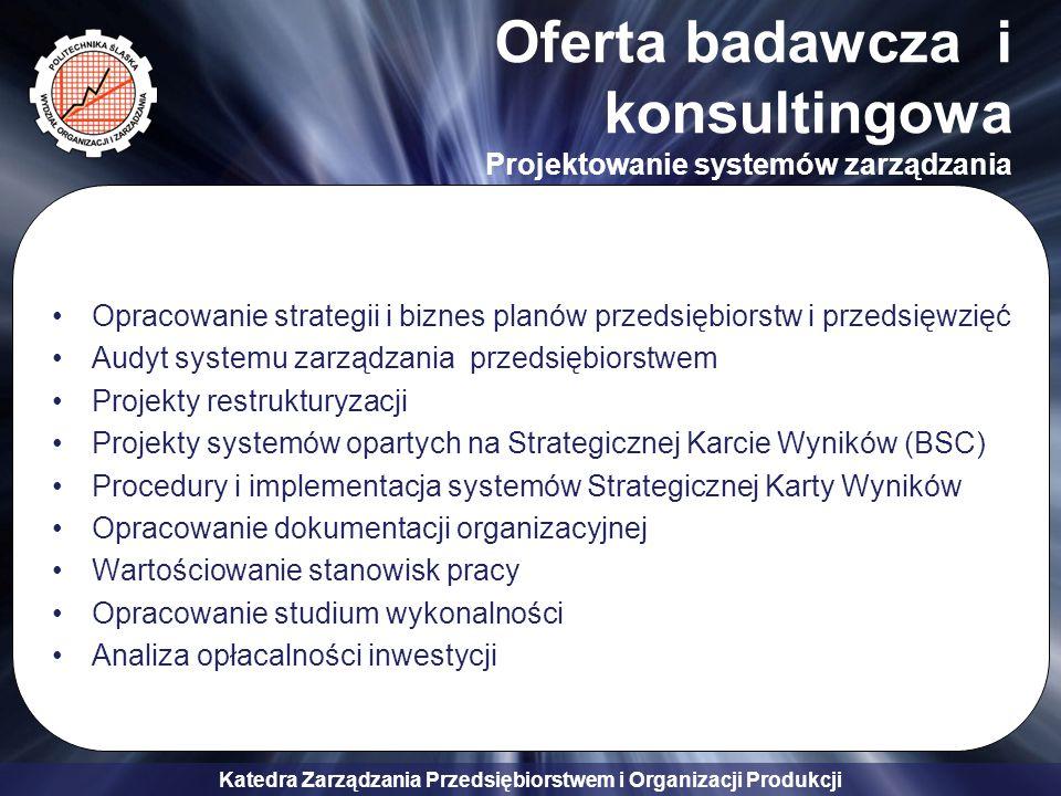 Oferta badawcza i konsultingowa Projektowanie systemów zarządzania