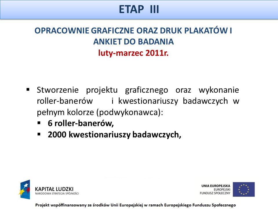 ETAP III OPRACOWNIE GRAFICZNE ORAZ DRUK PLAKATÓW I ANKIET DO BADANIA luty-marzec 2011r.
