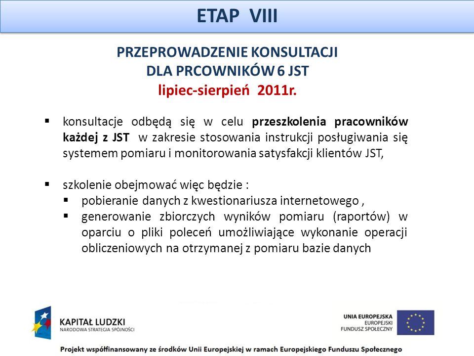 ETAP VIII PRZEPROWADZENIE KONSULTACJI DLA PRCOWNIKÓW 6 JST lipiec-sierpień 2011r.